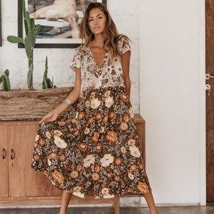 Spell Designs Desert Daisy Babydoll Midi Dress